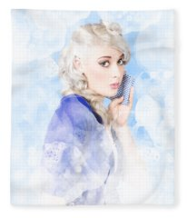 Gorgeous Young Woman Cleaning In Pinup Style Fleece Blanket
