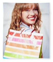 Happy Female Retail Shopper With Bag And Smile Fleece Blanket