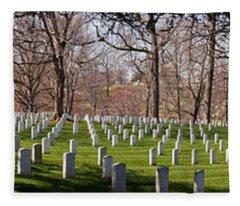 Headstones In A Cemetery, Arlington Fleece Blanket