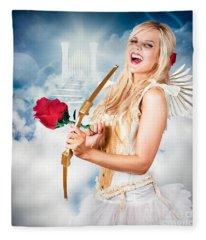 Heavenly Angel Of Love With Flower Arrow Fleece Blanket