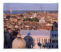 High Angle View Of A City, Venice, Italy Fleece Blanket