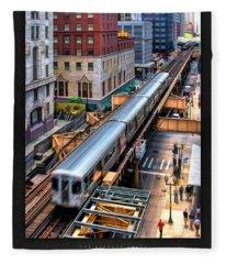 Historic Chicago El Train Poster Fleece Blanket