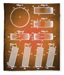 Hockey Puck Patent Blueprint Drawing Sepia Fleece Blanket