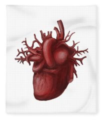 Human Heart Medical Diagram Isolated On White Fleece Blanket