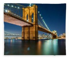 Illuminated Brooklyn Bridge By Night Fleece Blanket