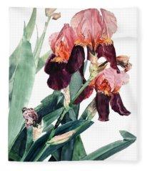 Watercolor Of A Pink And Maroon Tall Bearded Iris I Call Iris La Forza Del Destino Fleece Blanket
