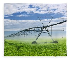 Irrigation Equipment On Farm Field Fleece Blanket