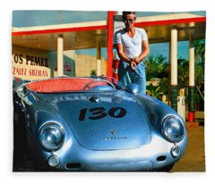 James Dean Filling His Spyder With Gas Fleece Blanket