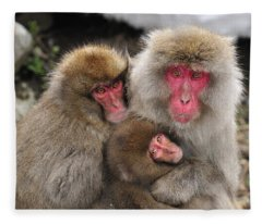Japanese Macaque Mother With Young Fleece Blanket
