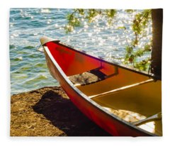 Kayak By The Water Fleece Blanket