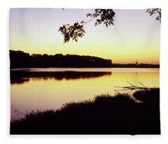 Lake At Sunset, Windmill Island Fleece Blanket