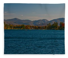 Lake Placid And The Adirondack Mountain Range Fleece Blanket