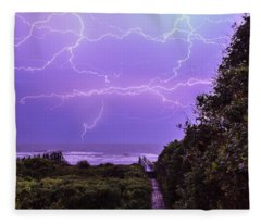 Lightning Over The Beach Fleece Blanket