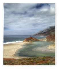 Little Sur River In Big Sur Fleece Blanket