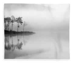 Loch Ard Trees In The Mist Fleece Blanket