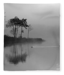 Loch Ard Trees In The Morning Mist Fleece Blanket