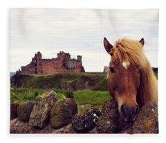 Lovely Horse And Tantallon Castle Fleece Blanket