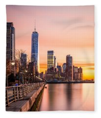 Lower Manhattan At Sunset Fleece Blanket
