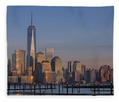 Lower Manhattan Skyline Fleece Blanket