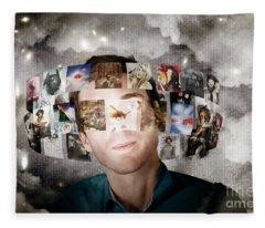 Man Streaming Media With Cloud Server Informatics Fleece Blanket