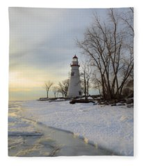 Marblehead Lighthouse Winter Sunrise Fleece Blanket