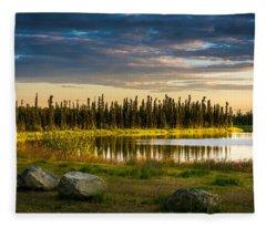 Midnight Sun Over The Pond Fleece Blanket