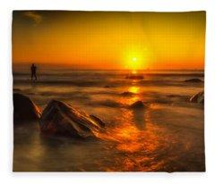 Montauk New York Summer Sunrise Fleece Blanket