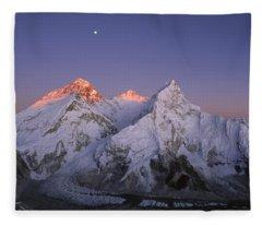 Moon Over Mount Everest Summit Fleece Blanket