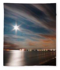 Moon Rise Over Anna Maria Island Historic City Pier Fleece Blanket