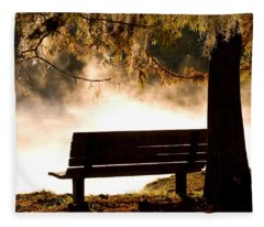 Morning Mist At The Spring Fleece Blanket