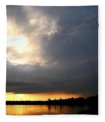 Mountain Lake Sunset Pocono Region Pennsylvania  Fleece Blanket