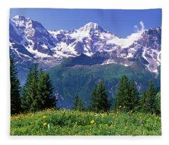 Murren Switzerland Fleece Blanket