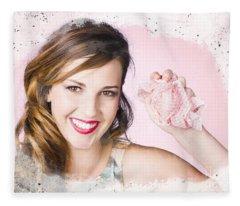 Nice Female Cleaner Washing Window With Smile Fleece Blanket