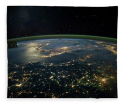 Night Time Satellite View Of Planet Fleece Blanket