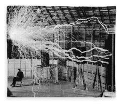 Nikola Tesla Serbian-american Inventor Fleece Blanket