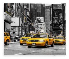 Nyc Yellow Cabs - Ck Fleece Blanket