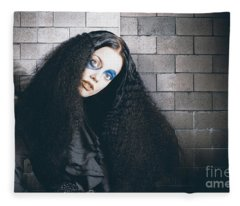 Occult Medieval Performer On Castle Brick Wall Fleece Blanket