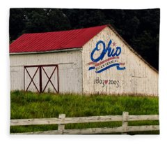 Ohio Bicentennial Barn Fleece Blanket