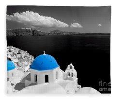 Oia Town On Santorini Island Greece Blue Dome Church Black And White. Fleece Blanket