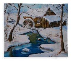 Old Grist Mill  Fleece Blanket