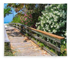 Pathway To Beach Fleece Blanket