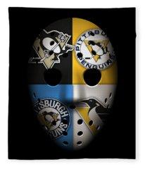Penguins Goalie Mask Fleece Blanket