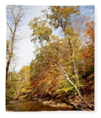 Pennsylvania Stream In Autumn Fleece Blanket
