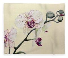 Phalaenopsis Black Panther Orchid Fleece Blanket