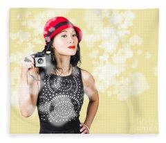 Photographer Taking Photos With Retro Film Camera Fleece Blanket