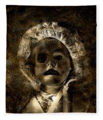 Porcelain Doll Crying Tears Of Cracks Fleece Blanket