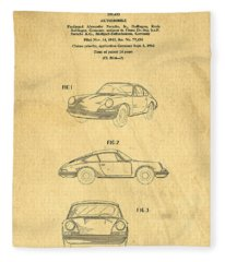 Porsche 911 Carrera 1964 Patent Art  Fleece Blanket