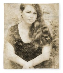 Portrait Of A Vintage Lady Fleece Blanket