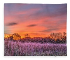 Illinois Prairie Moments Before Sunrise Fleece Blanket