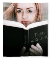 Reading Theory Of Relativity Book Fleece Blanket